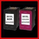 Pack cartouches rechargées HP 301XL /  Noir et Couleur