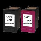 Pack cartouches rechargées HP 301XL /  Noir et Couleur SCV